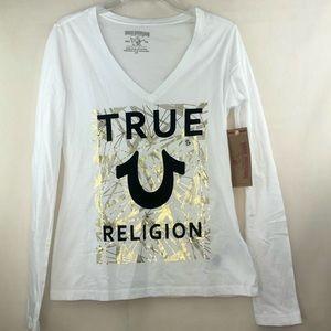 TRUE RELIGION Long Sleeve Shirt V Neck Top Small